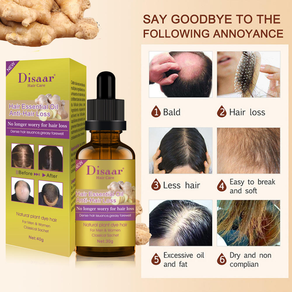 Disaar 3 Flavors Natural Wild Ginger Oils Control Anti Hair Loss Hair Growth Oil For Men And Women
