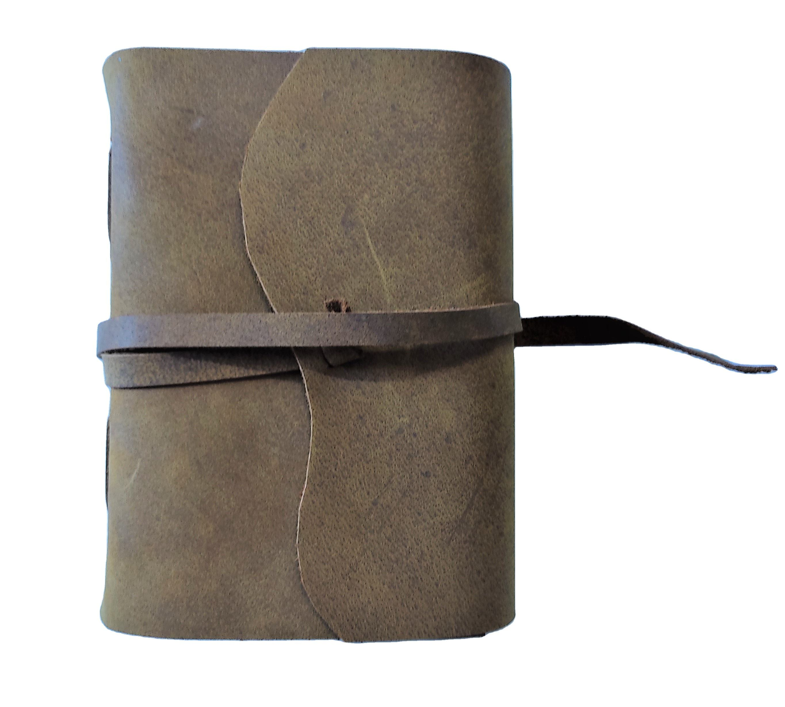Vintage leather journals with handmade cotton rag papers inside