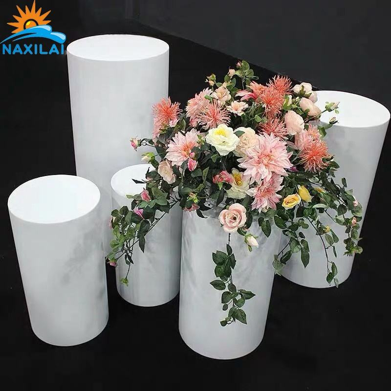 Naxilai Acrylic Square Plinth Acrylic Display Pedestal Wedding Plinth White Acrylic Cylinder Pedestal With Round Plinth