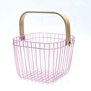 Cheap price kitchen vegetable potato and onion metal wire storage baskets with liners