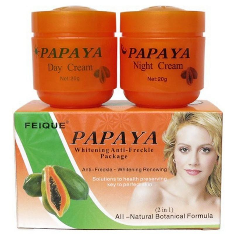 Natural Herbal Chemical Free Aloe Vera Papaya Skin Whitening Lightening Face Cream Speckle Removing Day and Night Cream Set