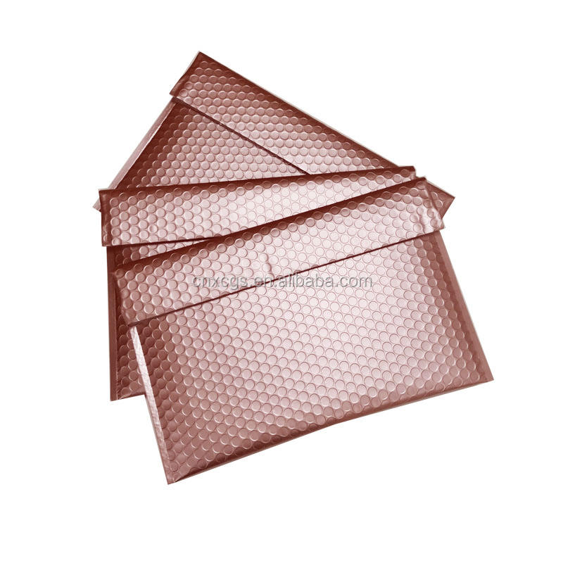 38x24+8cm Rose Gold Lip Kisses Seal Adhesive Chusion Shipping Metallic Bubble Mailers With Look and Hook