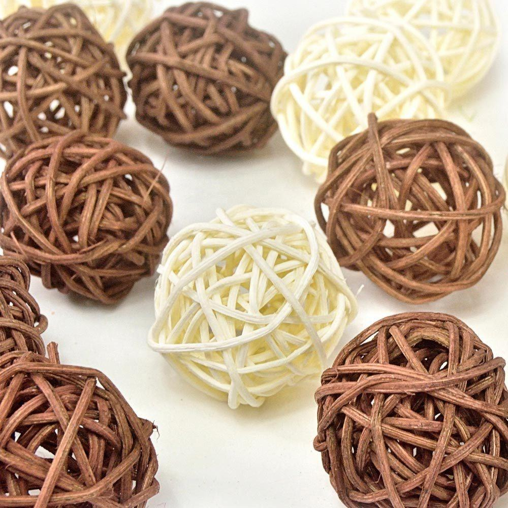 20 Pieces Wicker Rattan Balls Decorative Orbs Vase Fillers for Wedding Baby Shower Party Craft Table Decoration