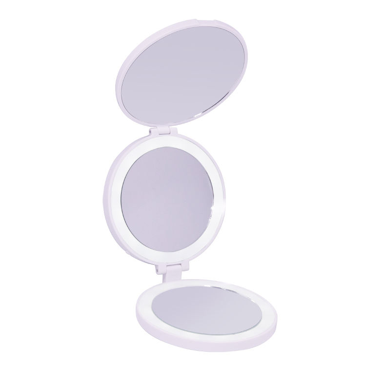3 panel round shape rechargeable battery cute plastic compact make up mirror