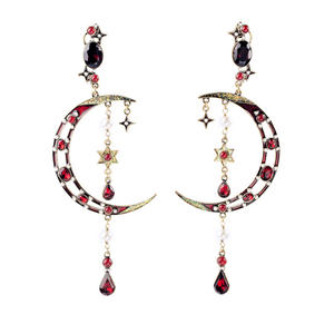 ed00973 Etsy Hot Selling Vintage Gold Plated 925 Silver Post Enamel Pearl Epoxy Resin Crescent Moon Statement Earrings for Party