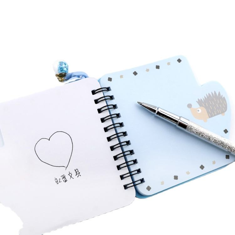 office and school stationery cartoon PVC soft cover mini shaped Pocket spiral notebook with 80 sheets and with pendant