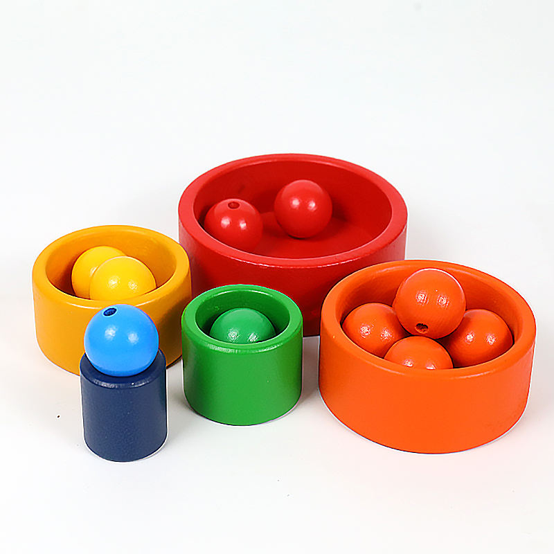 Wood [ Children's Toys Boys ] Children Toy Factory Direct Sale Children's Rainbow Set Bowl Educational Toys Wholesale Custom Boys Girl Kids Rainbow Montessori Toys Parts