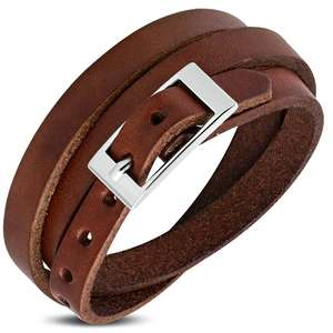 Genuine Brown Leather Triple Wrap Belt Buckle Bracelet customable logo design