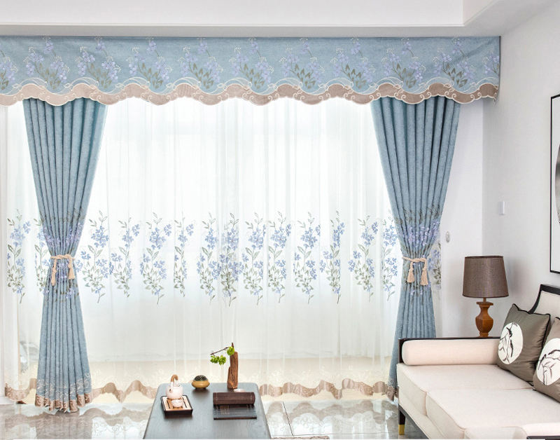 Customization chenille living room embossed embroidered curtain fabric bedroom study blackout curtain finished product