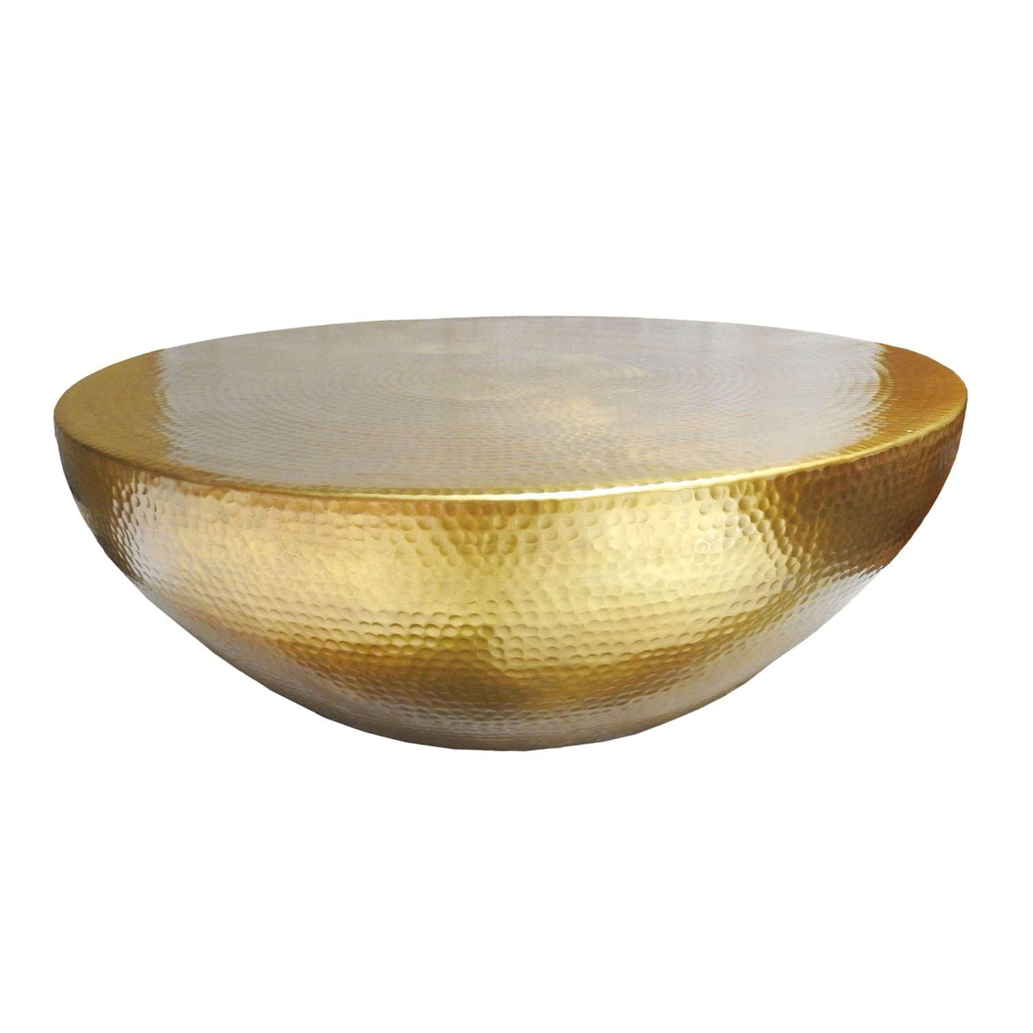 Coffee Table-Wholesale Modern design Aluminium ROUND HAMMERED OTTOMON CENTER TABLE - GOLD center table