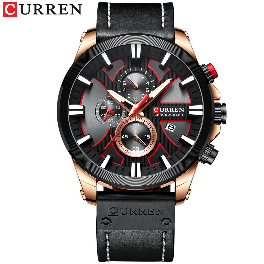 2019 hot sale Curren 8346 OEM design 30m water proof chronograph multifunction sport wide leather quartz man wrist watch