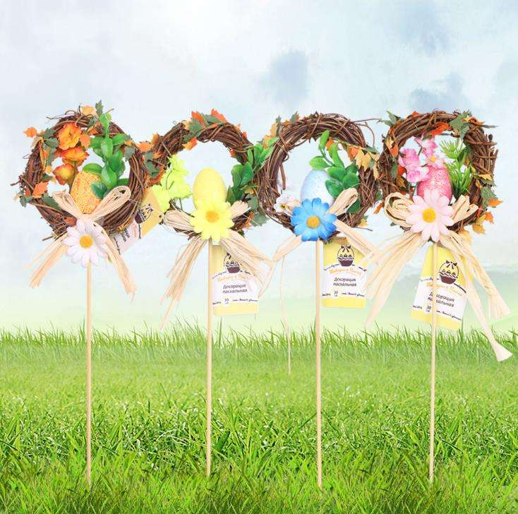 Pasen Krans Decoratie Pasen Bloem Gift Paasei Ornament Tafel Decoratie Deur Ornament Parade Decoratieve Bloemen