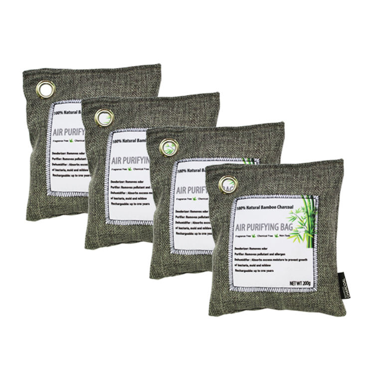 4x200g OEM Car Bulk Bamboo Charcoal Air Purifier Bag For Absorb Bad Smells