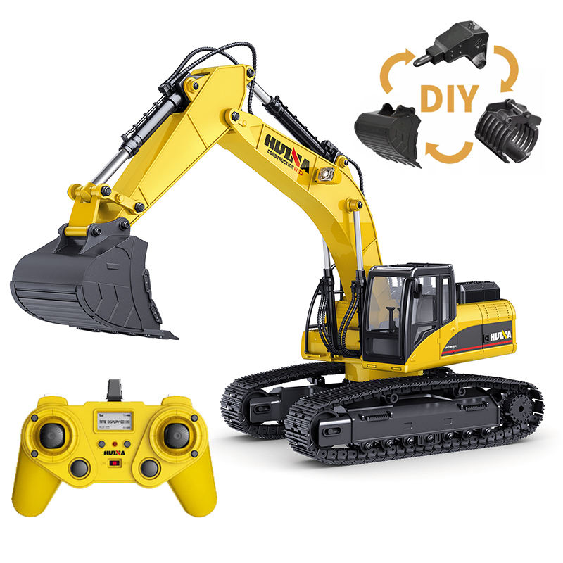 HUINA newest excavator 1580 580 upgrade version 4 1:14 23Ch RC FULL METAL RC Excavator huina with big trucks