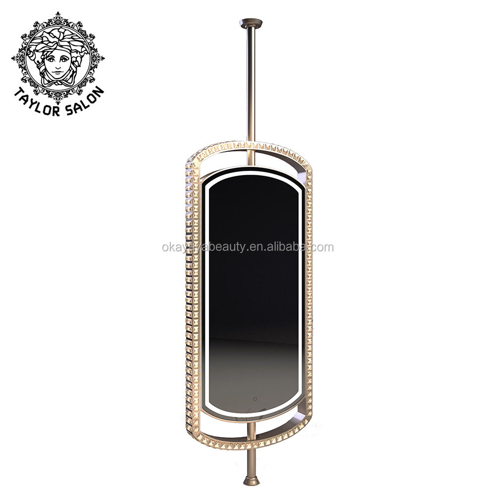 Saloon furniture double sided crystal makeup mirrors barber salon mirror station with LED
