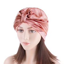 Custom LOGO Mulberry Silk Satin Sleeping Night Cap Turban Silk Bonnets for Women Hair