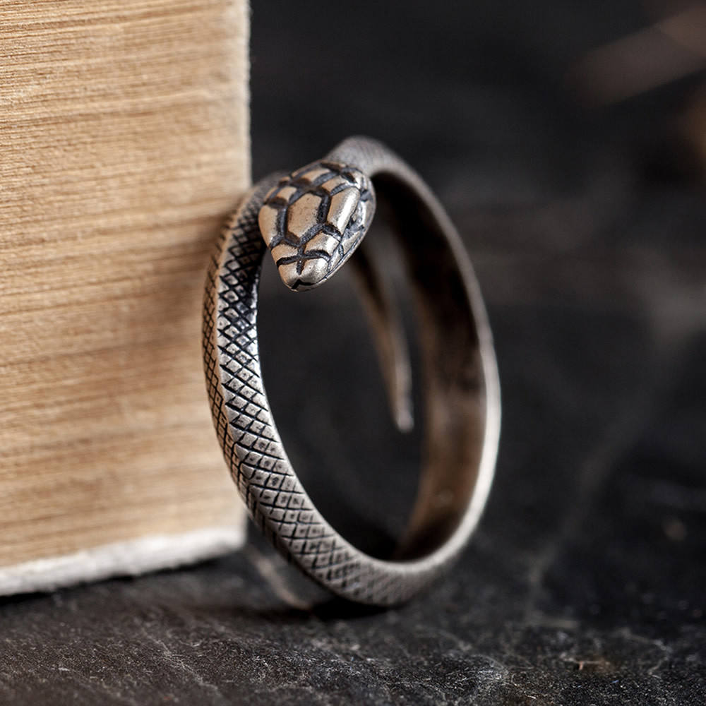 Personalized S925 Sterling Silver Snake Rings Punk Rock Jewelry For Man
