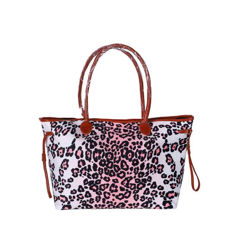 Women Designer Leopard Tote Purse Lady Wholesale Blanks Cheetah Handbag with PU Handle and Magnetic Snap Closure For Girls
