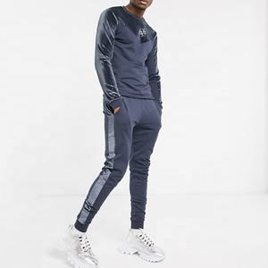 velour tracksuits Men Sweatsuit/Custom Made Men Grey polyester with Velvet strip Sweatsuit
