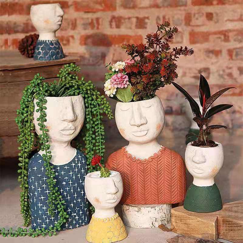 Happy Family of Four Garden Decoration Human Head Design Cement Flower Planter Pot For Home Decor