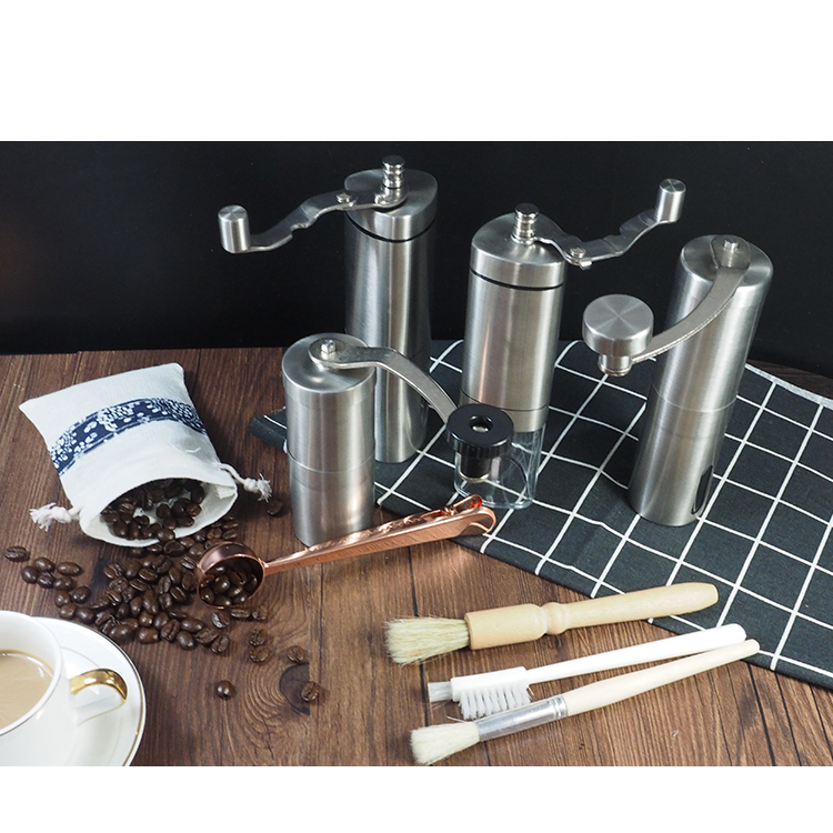 Low moq flat burr grinder, Hot hand operated coffee grinder hopper