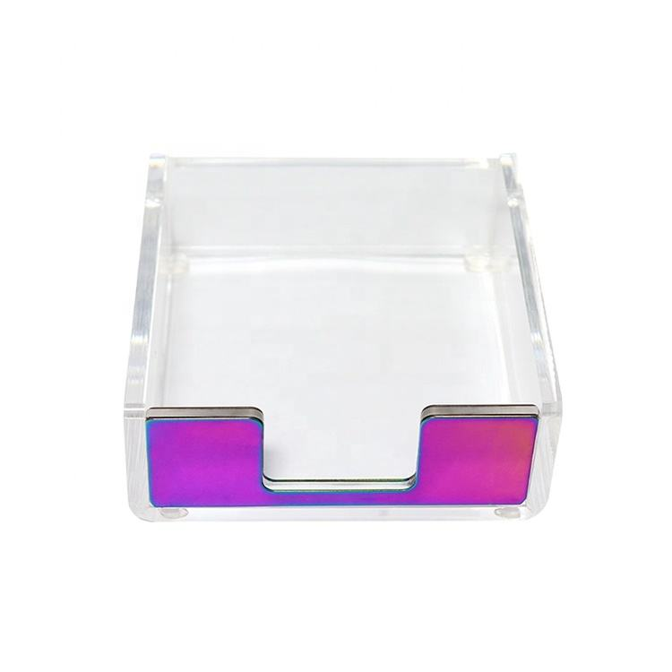 Organisateur de bureau bloc-notes personnalisé acrylique transparent collant notes porte-tampon