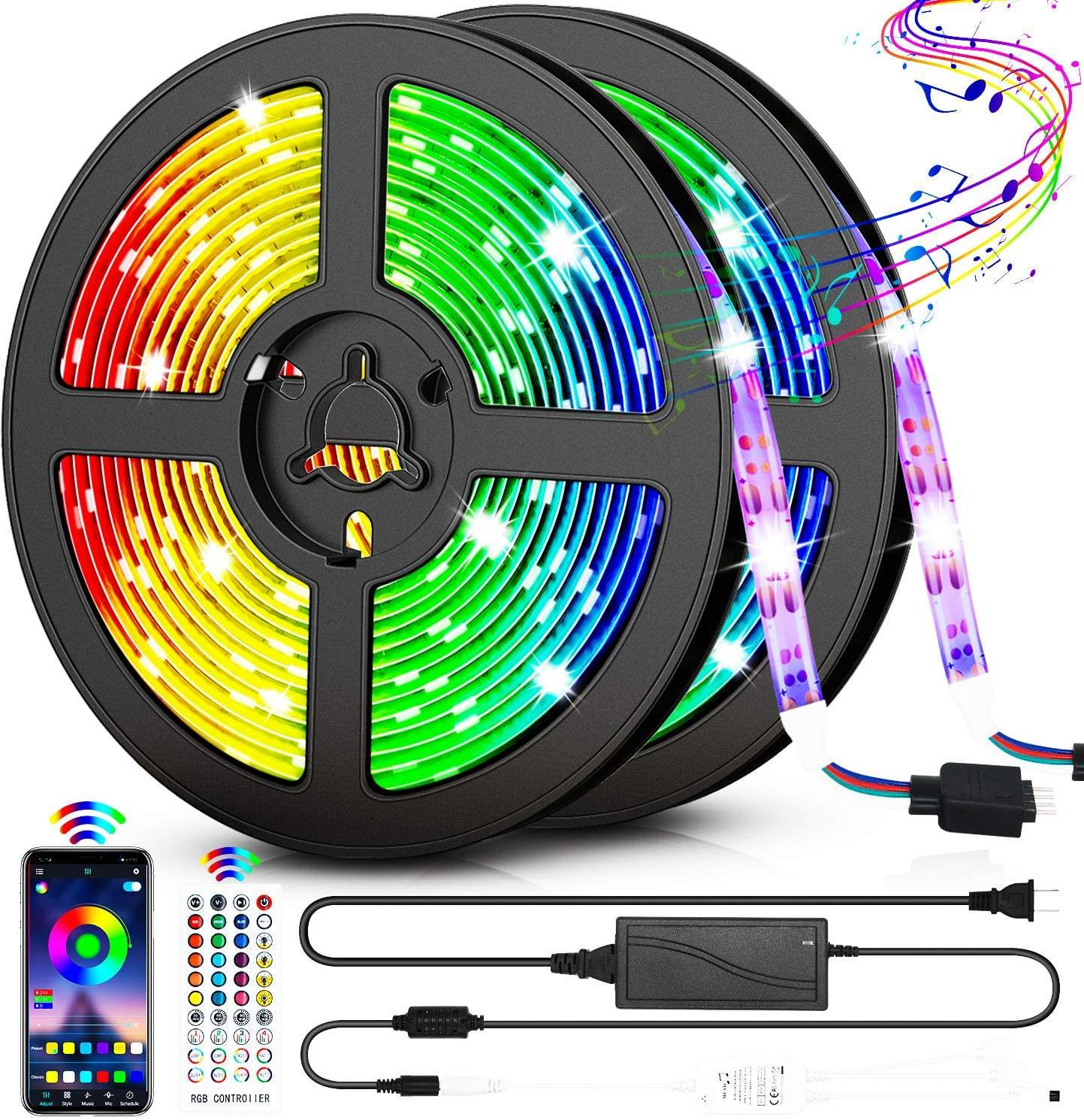 LED Strip Lights 32.8FT/10M 300 LEDs Waterproof RGB Light Strip Kits with Remote for Room Bedroom TV Kitchen Desk