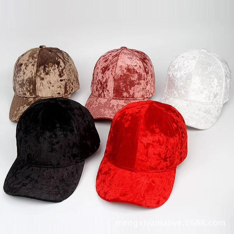 Velvet Baseball Cap Autumn Hat Plain Snapback Fashion Leisure Women Headwear