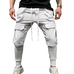 Casual Joggers Pants Solid Color Mens Cotton Elastic Long Trousers