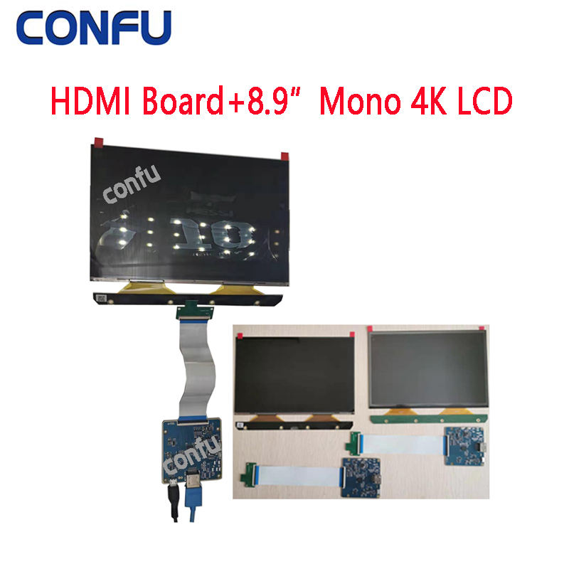 CONFU 8.9 inch 4K 3840x2400 Mono LCD and HDMI Board for 3D Printer Raspberry Pi Monochrome FOG Display Panel No Backlight China