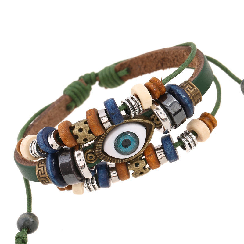 Personality Charm Jewelry Multilayer Retro Eye Leather Bracelet Ethnic style Eyes Charm Bracelets Wristband