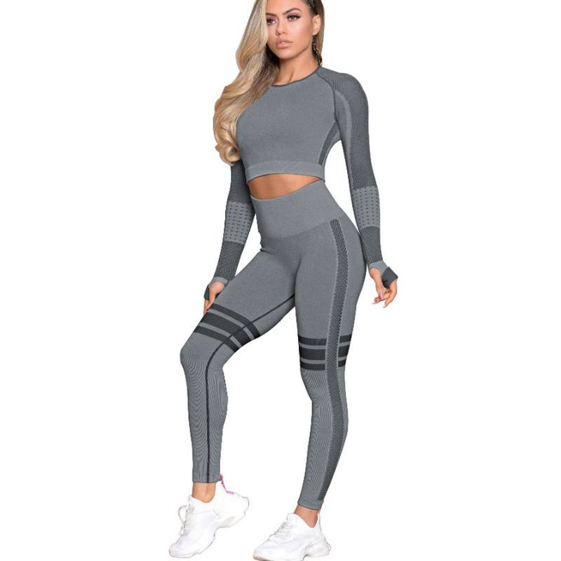 2020 OEM Custom Workout 2 piece Fishnet Yoga Set Long Sleeve Crop Top Seamless High waisted Leggings Fitness Ative Wear Sets