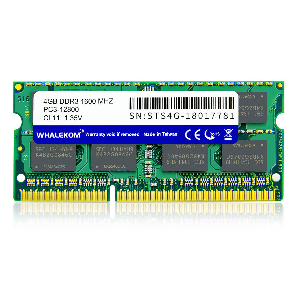 WHALEKOM STS4G 1600 High Quality 204Pin 1CL1 1 1.35V 1600MHz Laptop 4Gb DDR3 RAM For Notebook