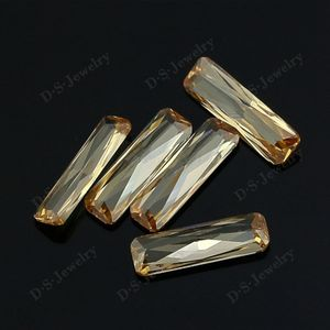 Wholesale Rectangle champagne Lab Synthetic Cubic Zircon Stone Gems