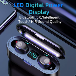 F9 Tws 5.0 Bluetooth Headphone Waterproof 8d Sports Earphones Wireless Earbuds