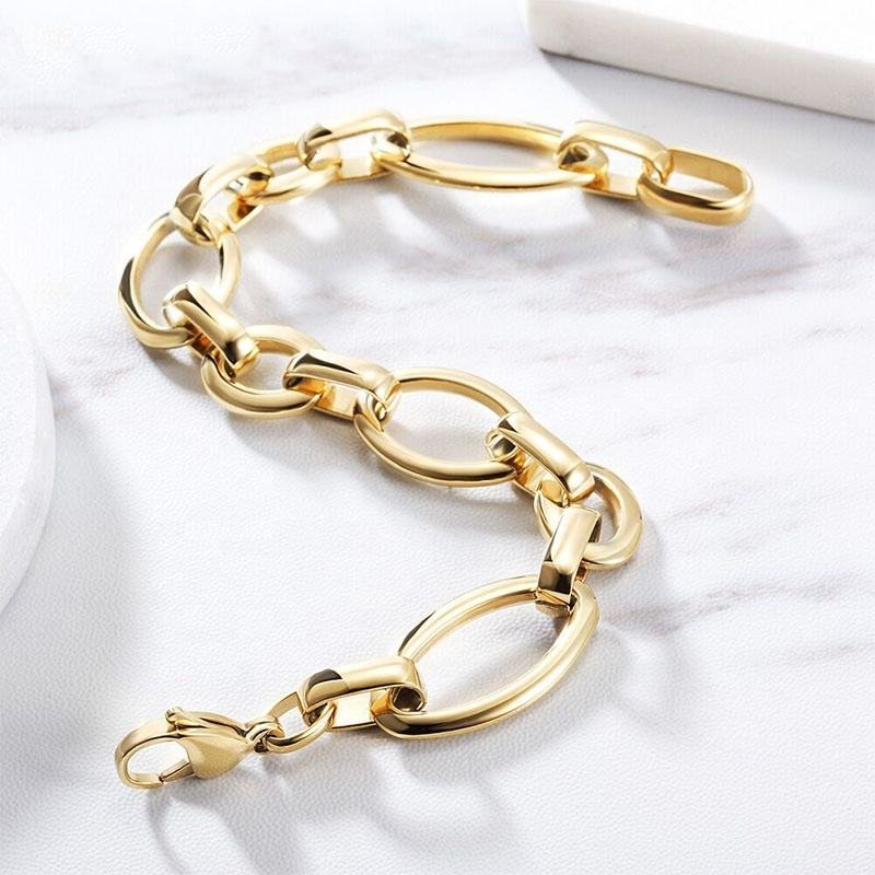 Minimalism New Style Lady Gold Color Birthday Gift 316L Stainless Steel Chain Bracelets