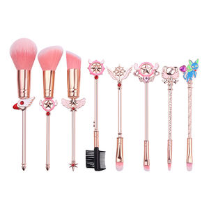 Japanese Cartoon Sailor Moon Card Captor Sakura 8pcs Makeup Cosmetic Brush Set Metal Beauty Tool Girl