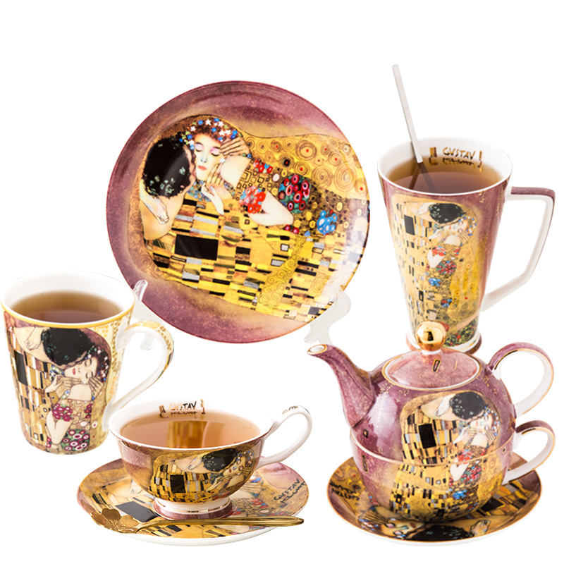 Klimt Kiss Painting Series Coffee & Tea Sets Ceramic Teapot