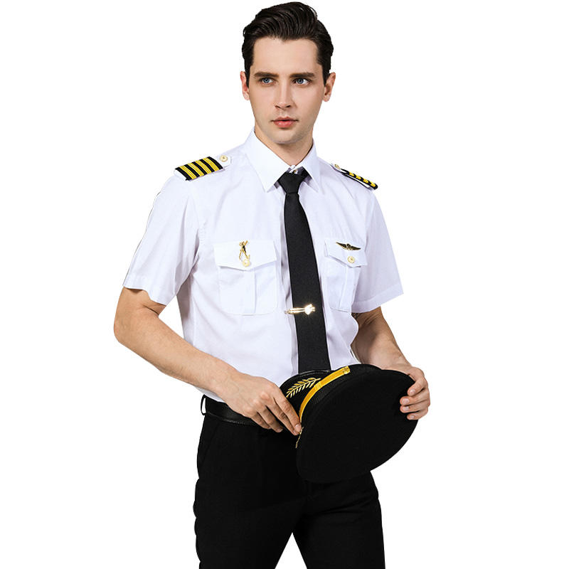 Man airline pilot captain uniform white shirt long sleeve short sleeve white pilot shirts