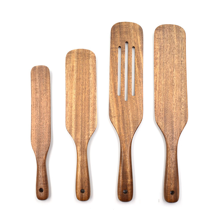 Natural Teak Kitchen Tools for Stirring, Mixing, Cooking 4Pcs Wooden Cooking Utensils with Hanging Holes Wooden Spurtles Set