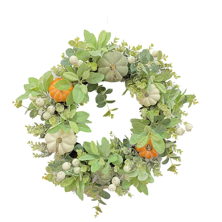 Artificial leaf pumpkin autumn festival decor 24 inch fall wreaths for front door