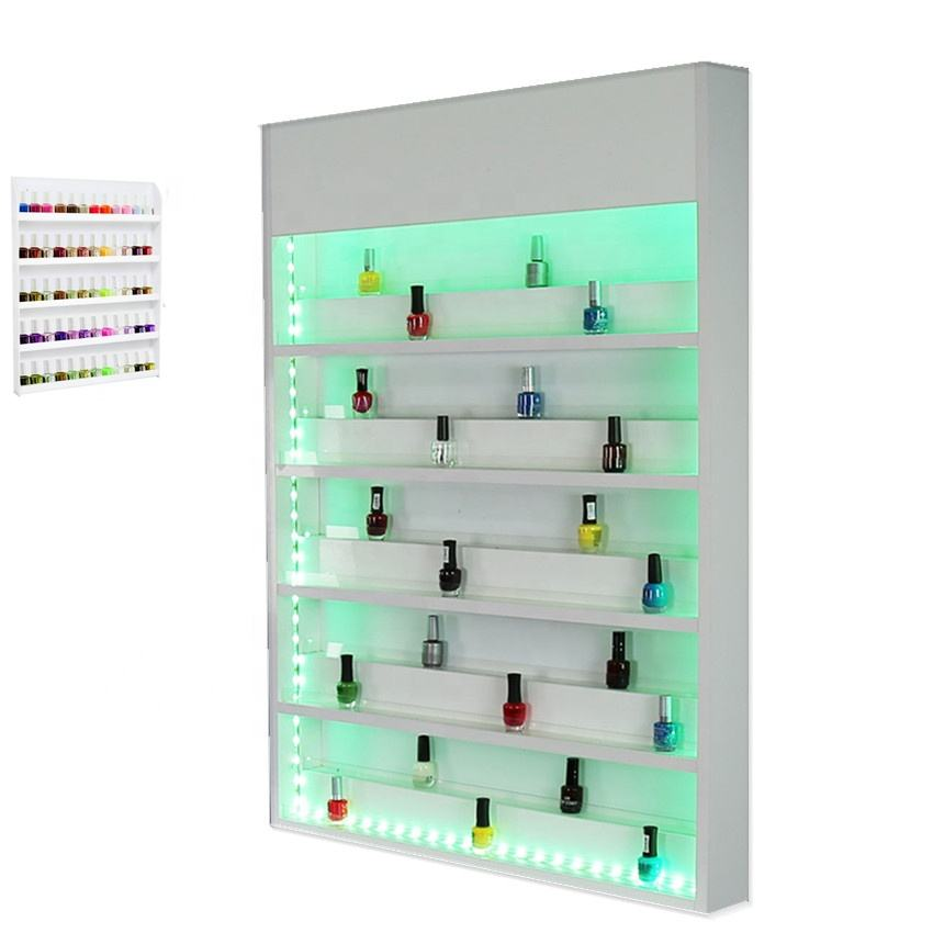 New nail art polish wall display stands nail rack with LED lighting