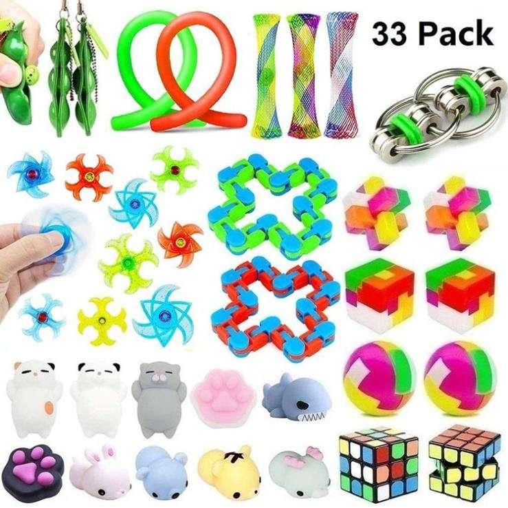 Fidget Toys set, Sensory toys pack for Stress Relief and Anti-Anxiety /Pack of Squeeze Balls/Slime/Stretchy String/Squeeze-a-Be