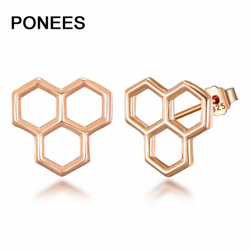 PONEES Fashion Jewelry High Quality 925 Sterling Silver Princess Crown Earrings for women Girls