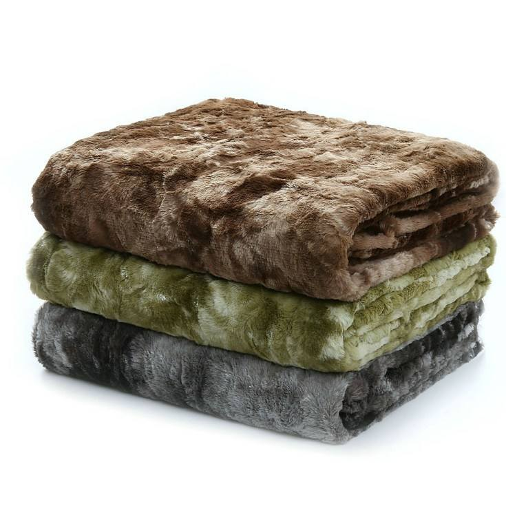 Fluffy Warm Elegant Frost Grey Throw Faux Fur Blankets