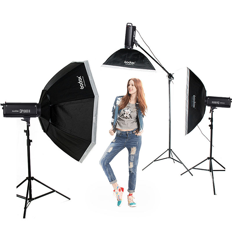 professional Godox DP1000II 2X 1000Ws Photo Flash Lighting kit Softbox Light Stand studio photography equipment