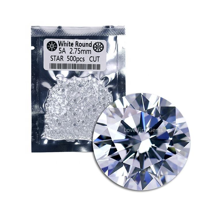 500pcs/pack wuzhou cz gems 5A grade 2.75mm white European star round cut loose cz stone cubic zirconia