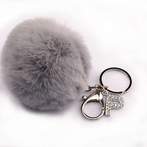 Wholesale Amazon Top Ranking Faux Rabbit Fur Fluffy Puff Ball Pom Pom keychain with Synthetic Diamonds Letter