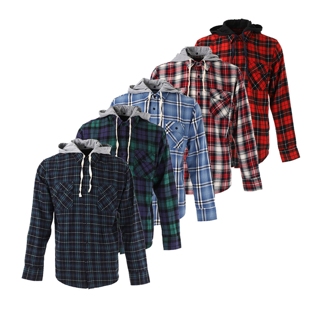 Color optional casual 100% cotton long sleeve wholesale check flannel hood shirts for men