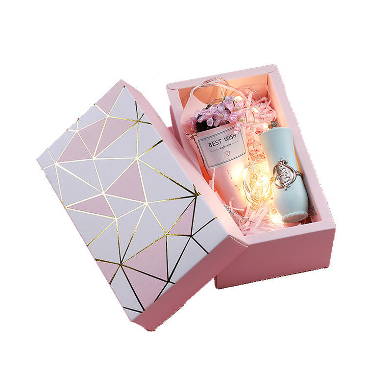 High Quality Drawer Box With Art Small Fresh Rectangular Vintage Kraft Paper Gift Bag Packing Box For Valentine Day